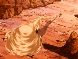 Aang fights a Canyon Crawler