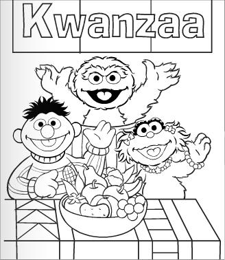 Kwanzaa on zoe sesame street coloring pages