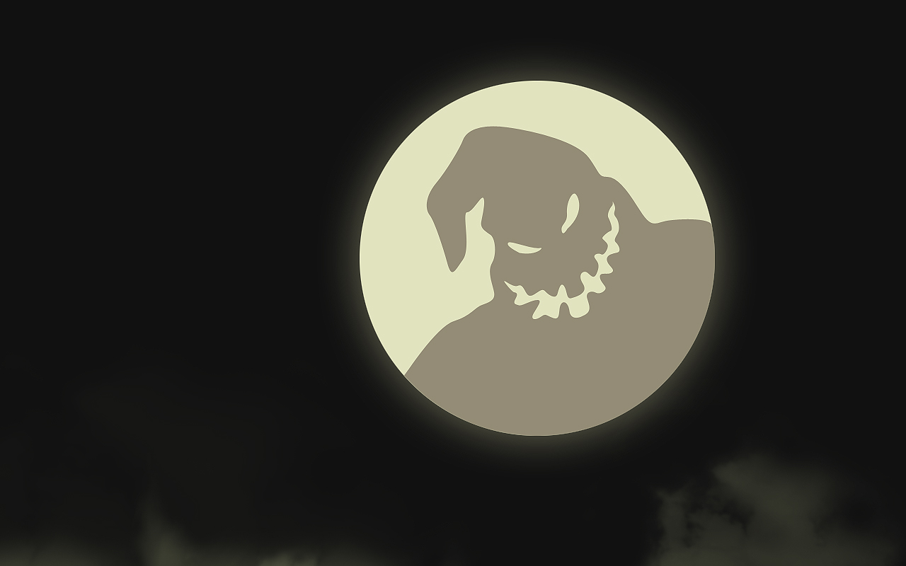 Oogie Boogie in the shadow on the moon at night.