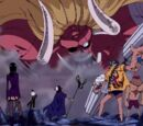 Mugiwara-Piratenbande und Brook gegen Oars I. und Gekko Moriah