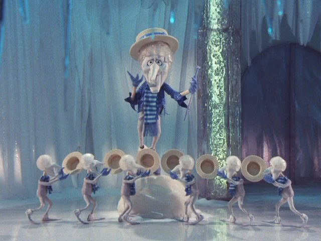 Snow miser and his minions performing their version of the song