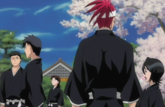 Rokubantai Gates and Courtyard (6th Squad) Renji_and_Rukia_relax_with_the_other_6th_Division_members