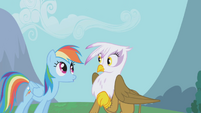 Gilda surprised at Rainbow Dash S1E5