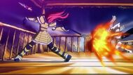 Erza about to throw her spear at the moon