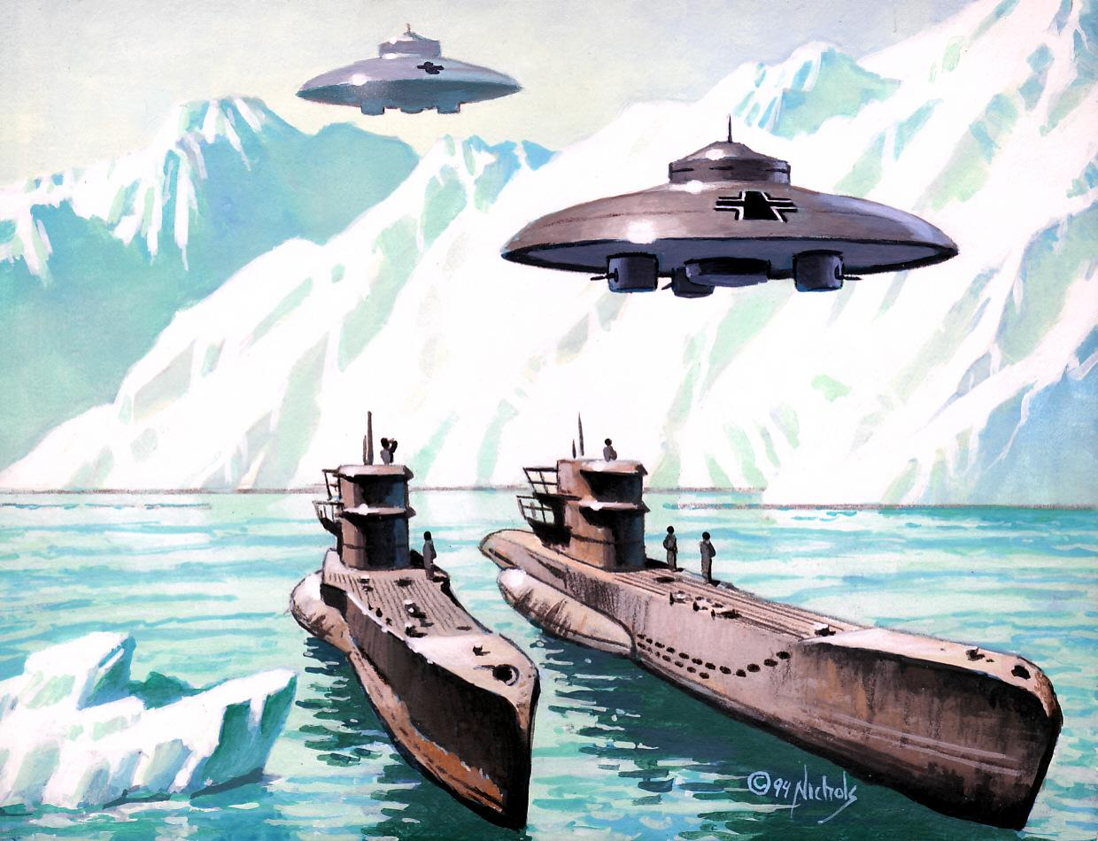 Illustration of Space ships visiting Antarctica