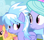Flitter and Cloudchaser look at each other S2E22