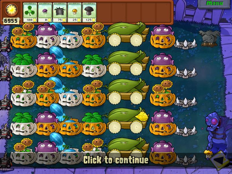 Plants vs Zombies Survival Night Hard