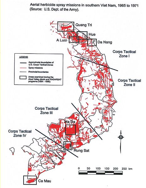 the cause and effect in the use of agent orange in vietnam 1962 by the us military Use outside vietnam edit while 'agent orange' was only used between 1965 and 1970, 2,4-d, 2,4,5-t and other herbicides were used by the us military from the late 1940s through the 1970s.