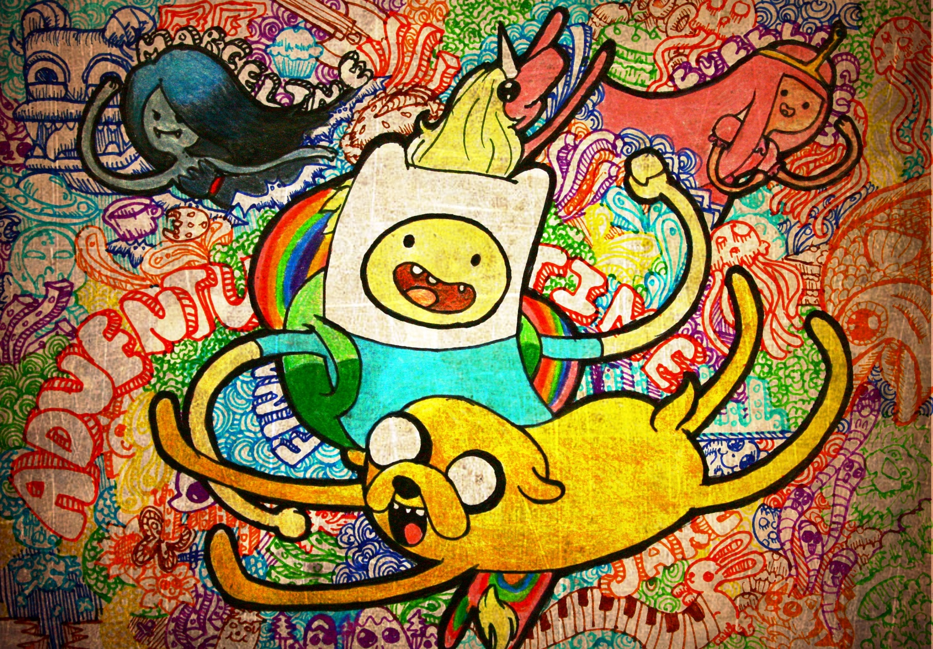 Image - Finn and Jake drawing wallpaper.jpg - The ...