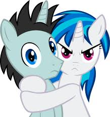 Vinyl Scratch hugging Neon Lights jpgNeon Lights Wallpaper Mlp