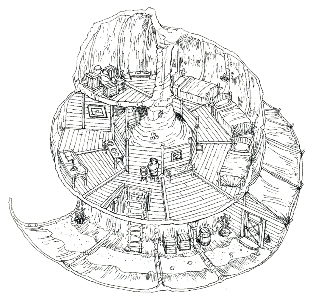 Fantasy Houses Drawing Concept Art of a House