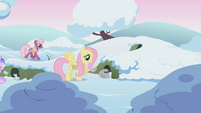 Fluttershy wakes a bunny while Cheerilee walks by in background S1E11