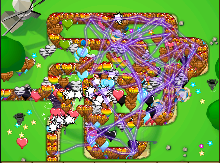 Of masters of air fighting a plethora of regrowth ceramic bloons
