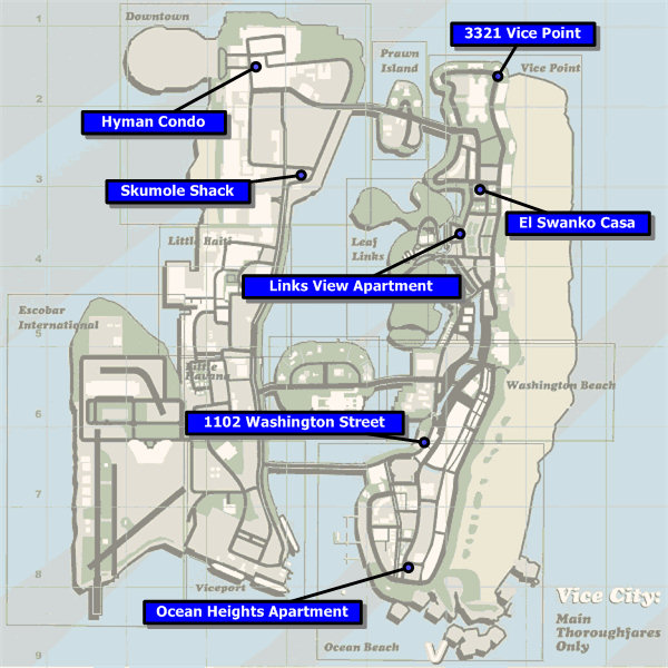 Vice City Map Properties Safehouses in GTA Vice...