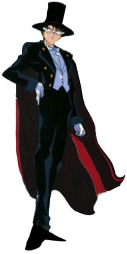 El misterioso, malvado y escalofriante hombre de la capa negra elegante y zapatos gabana con estilo Tuxedo-Mask-image
