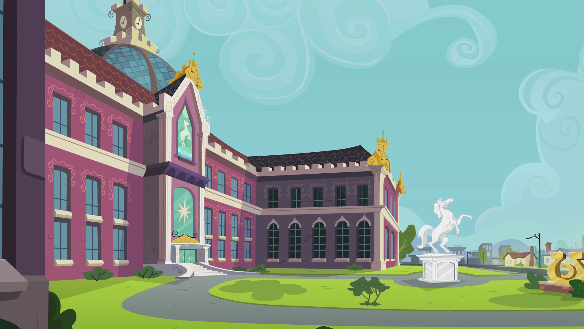 My Little Pony:Equestria Girls. Canterlot_High_School_exterior_shot_EG