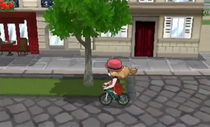 Serena montando la bicicleta