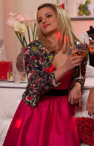 Quinns-pink-red-dress-sequin-jacket-emmas-wedding-372x580