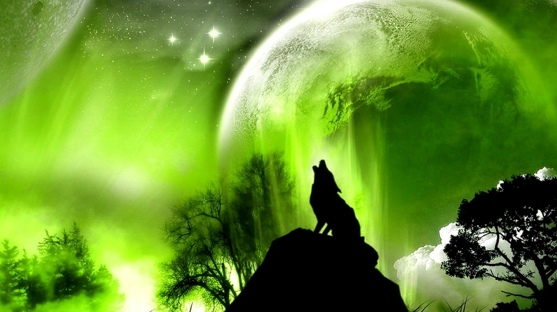 Image - Green outer space trees animals planets moon wolf 1366x768