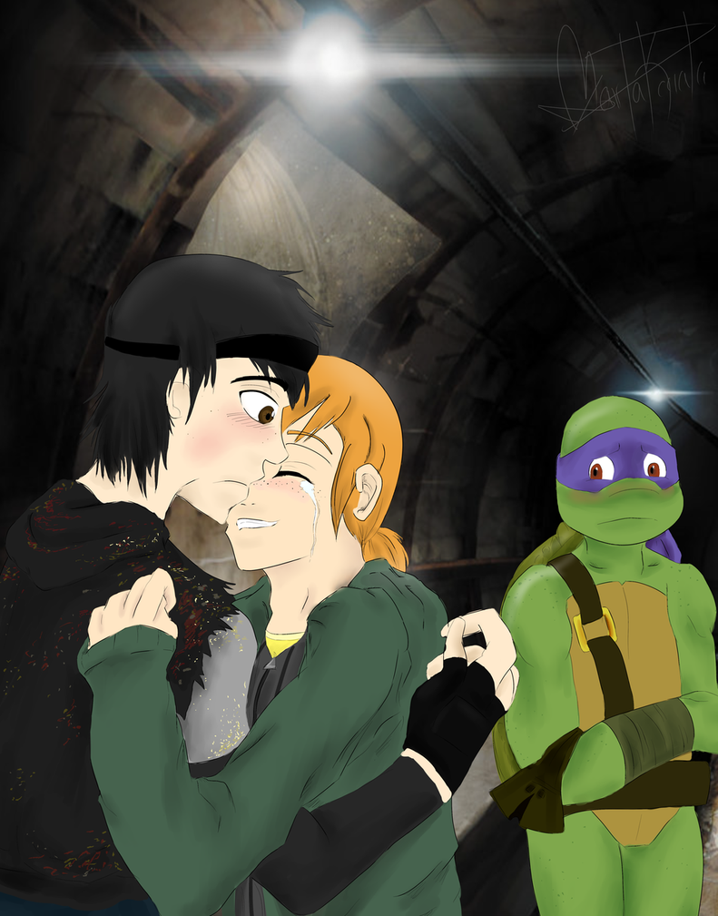 Donnie and April Kiss - TMNTPedia