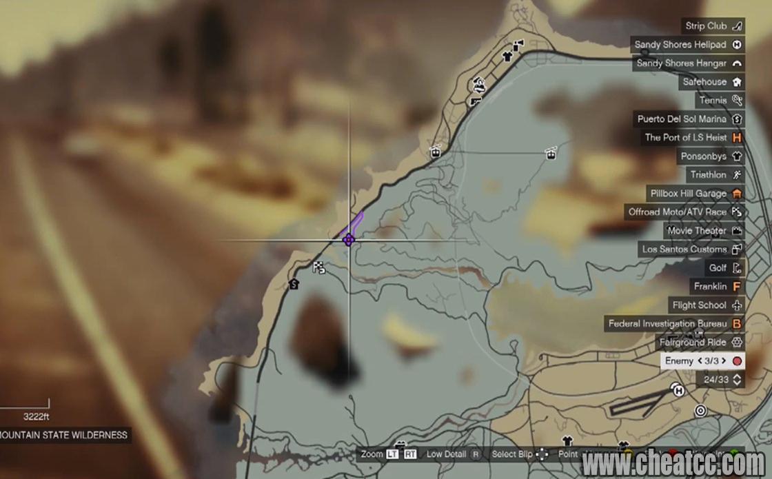Где находится военная база в гта на карте