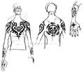 Boceto de los tatuajes de Law