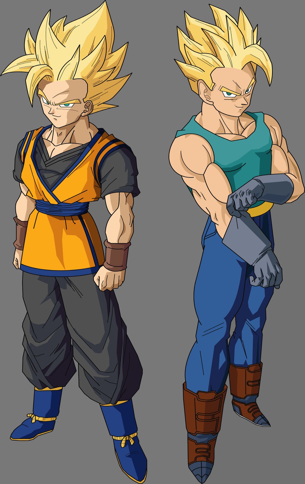Goten was stood opposite of Trunks as the two best friends were about    Future Goten