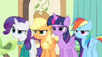 Rarity, Applejack, Twilight and Rainbow looking angry S4E14