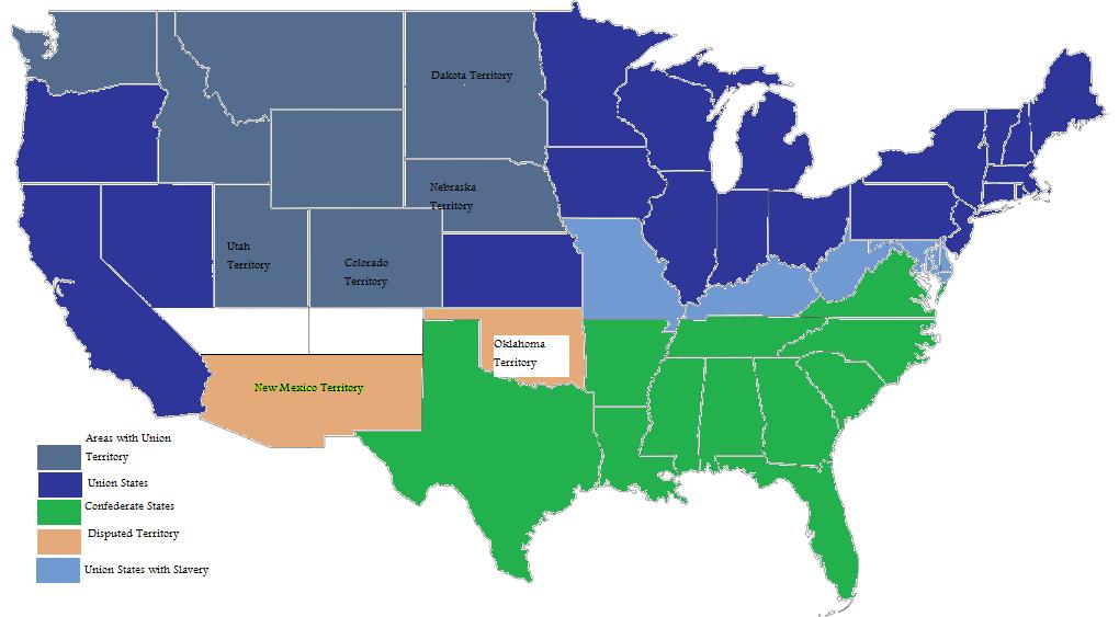 Civil War Battles Map a Map of The Civil War United