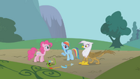 Pinkie, Rainbow, and Gilda talking S1E05