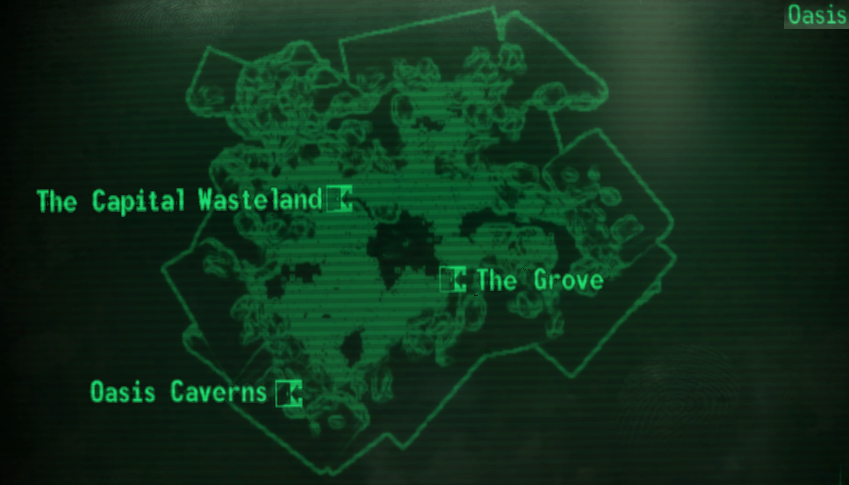 fallout 3 how to get to oasis from clifftop shacks