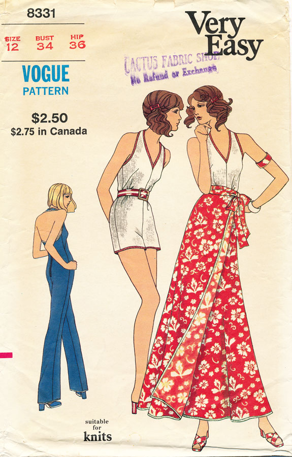 1970s jumpsuit or playsuit pattern - Vogue 8331