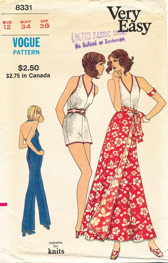 1970s jumpsuit or playsuit pattern - Vogue 8331