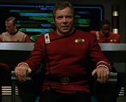James T. Kirk in Enterprise-B captain's chair