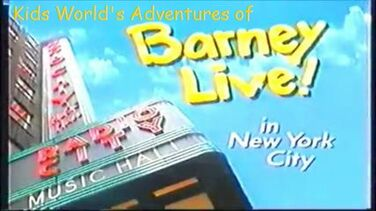 Kids world s adventures of barney live in new york city logo