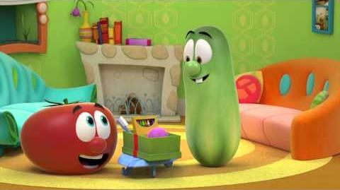 Larry the Cucumber packs an Operation Christmas Child shoebox!