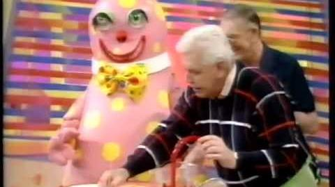 Mr Blobby learns How to cook with Hudson and Halls