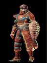 MHO-Red Khezu Armor (Gunner) (Male) Render 001.png