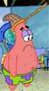 Patrick Wearing a Jellyfishing Net on his Head.png