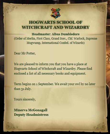 Hogwarts acceptance letter - Harry Potter Wiki - Wikia